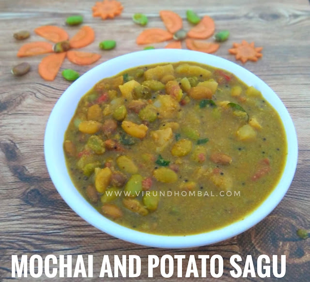 Mochai and Potato Sagu - Lima beans and Potato Curry - Side dish for Chapathi, Poori, Idiyappam -  Mochai Potato Sagu - made with fresh mochai (lima beans), potatoes and other basic ingredients. This sagu dish tastes good with idiyappam, aapam, chapati and dosas. The cooking method is very easy and you can prepare it within 30 minutes.