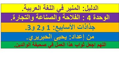 جذاذات الوحدة الرابعة المنير في اللغة العربية المستوى الرابع ابتدائي المنهاج الجديد