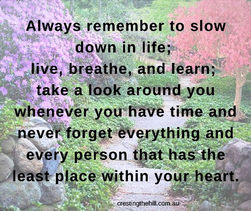 Always remember to slow down in life; live, breathe, and learn; take a look around you whenever you have time and never forget everything and every person that has the least place within your heart.