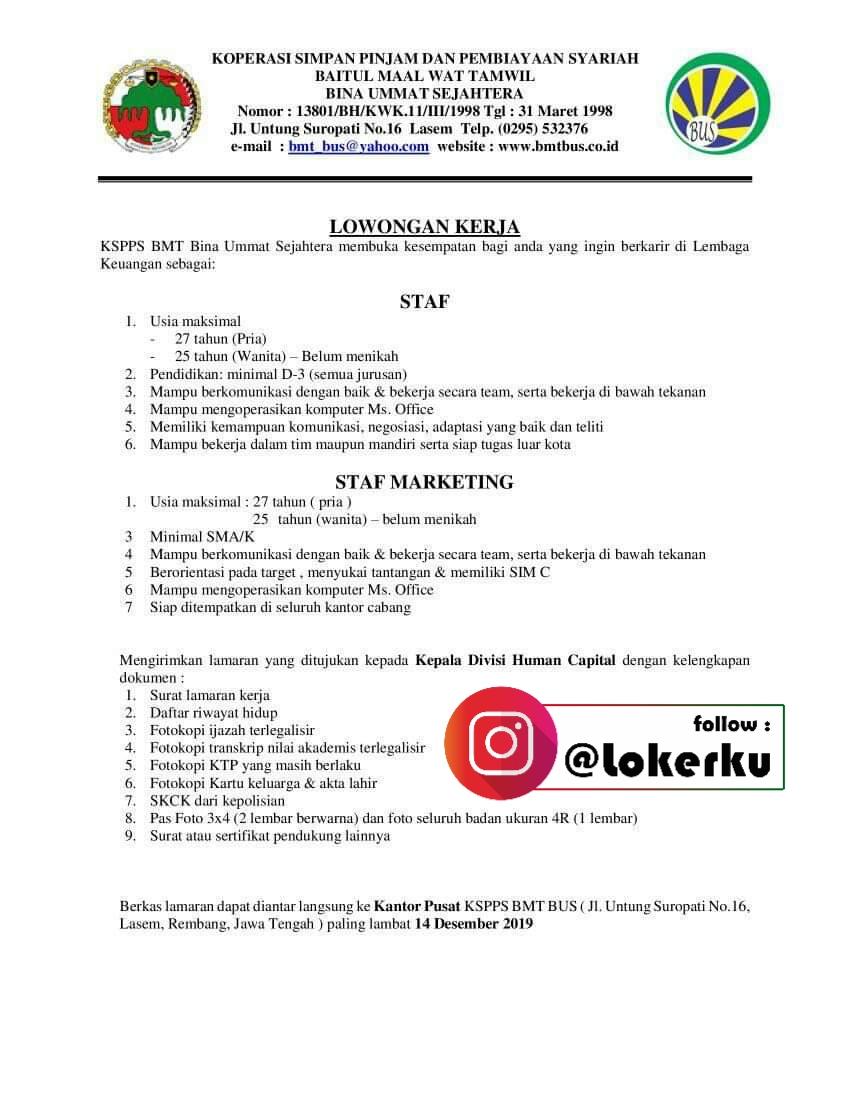 Info Lowongan Kerja Lasem Sebagai Staf, Staf Marketing di KSPPS Bina Ummat Sejahtera Rembang