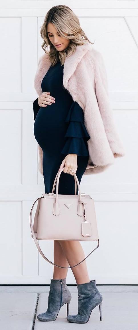 trendy winter outfit / pink fur coat + black dress + bag + boots