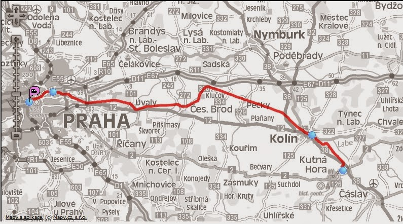 mapa ruta praga kutná hora