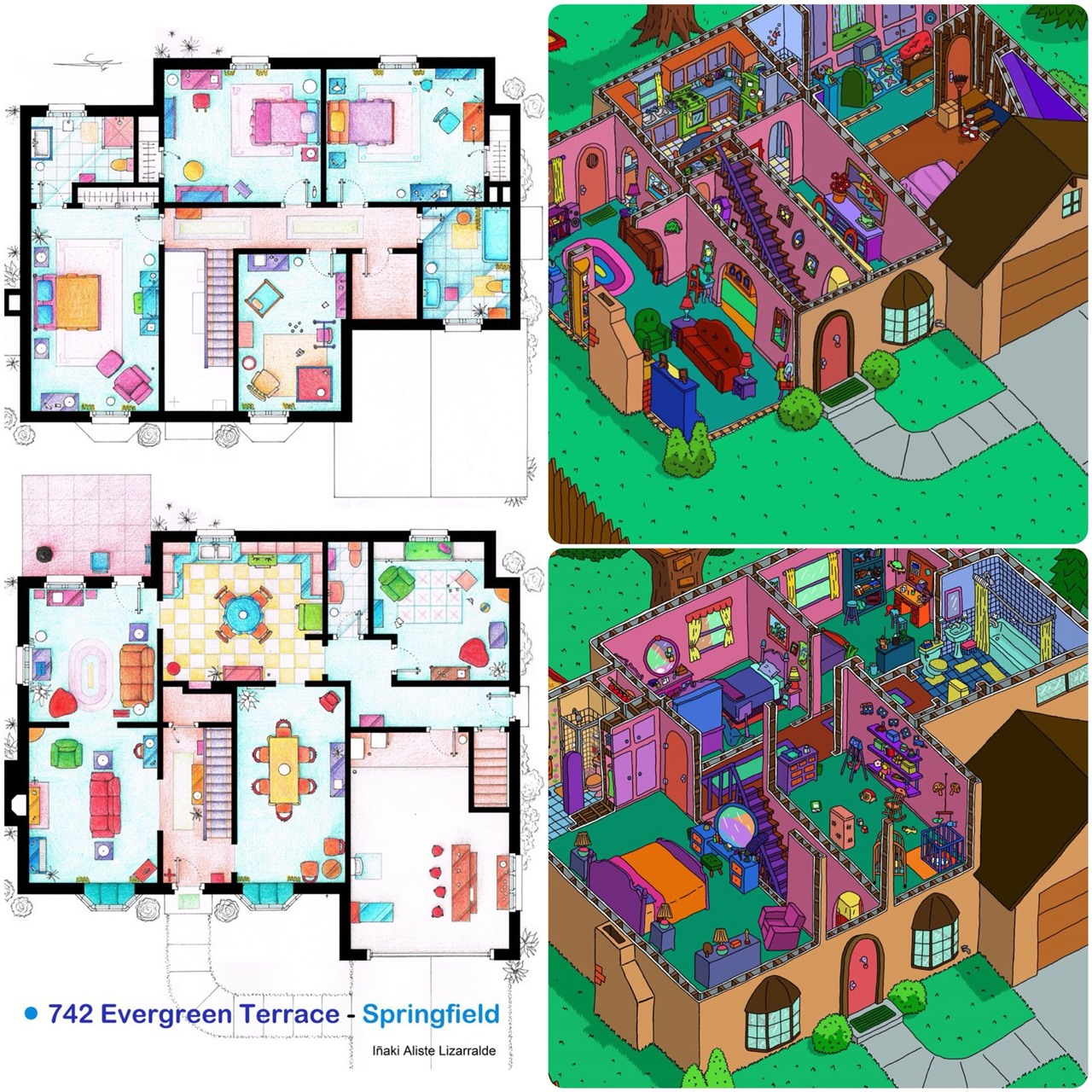 Isometric cuts of the plants of the house of The Simpsons