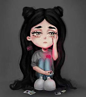 صور بنات حزينة كرتونية جميلة كيوت تبكي تعيط