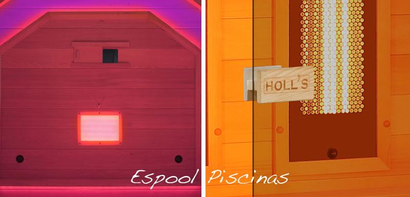 Cromoterapia y puerta de cristal de seguridad de la sauna Venus de Holl´s - Pregunta en Espool Piscinas