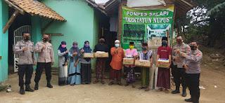 Polres Serang Serahkan Bantuan Sembako Untuk Pondok Pesantren Tadzkiatun Nufus Kec. Kragilan
