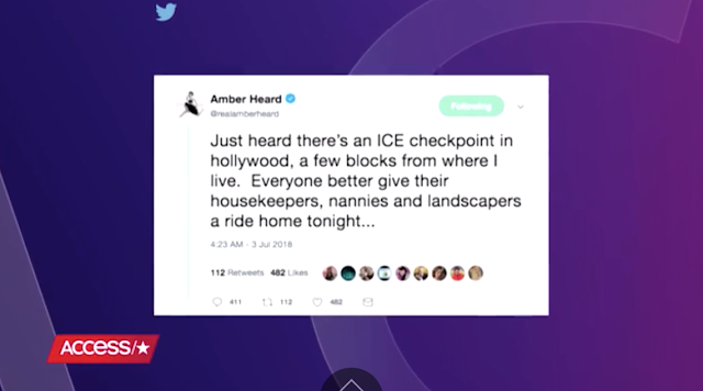 Amber Heard Told People to Hide Their Nannies From ICE Checkpoints in Hollywood, and Twitter Isn't Having It