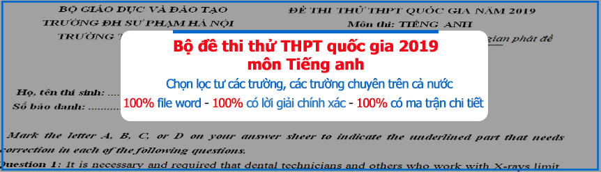 Bộ đề thi thử THPT quốc gia 2019 tiếng anh