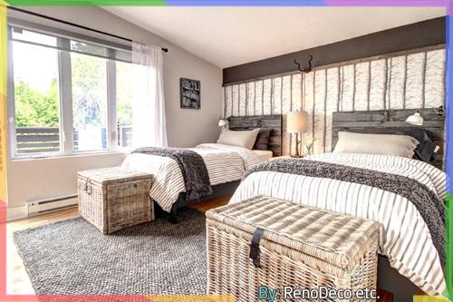 دمج اللون الخشبي مع الرمادي والأبيض في غرفة النوم