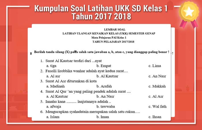 Kumpulan Soal Latihan UKK SD Kelas 1 Tahun 2017 2018