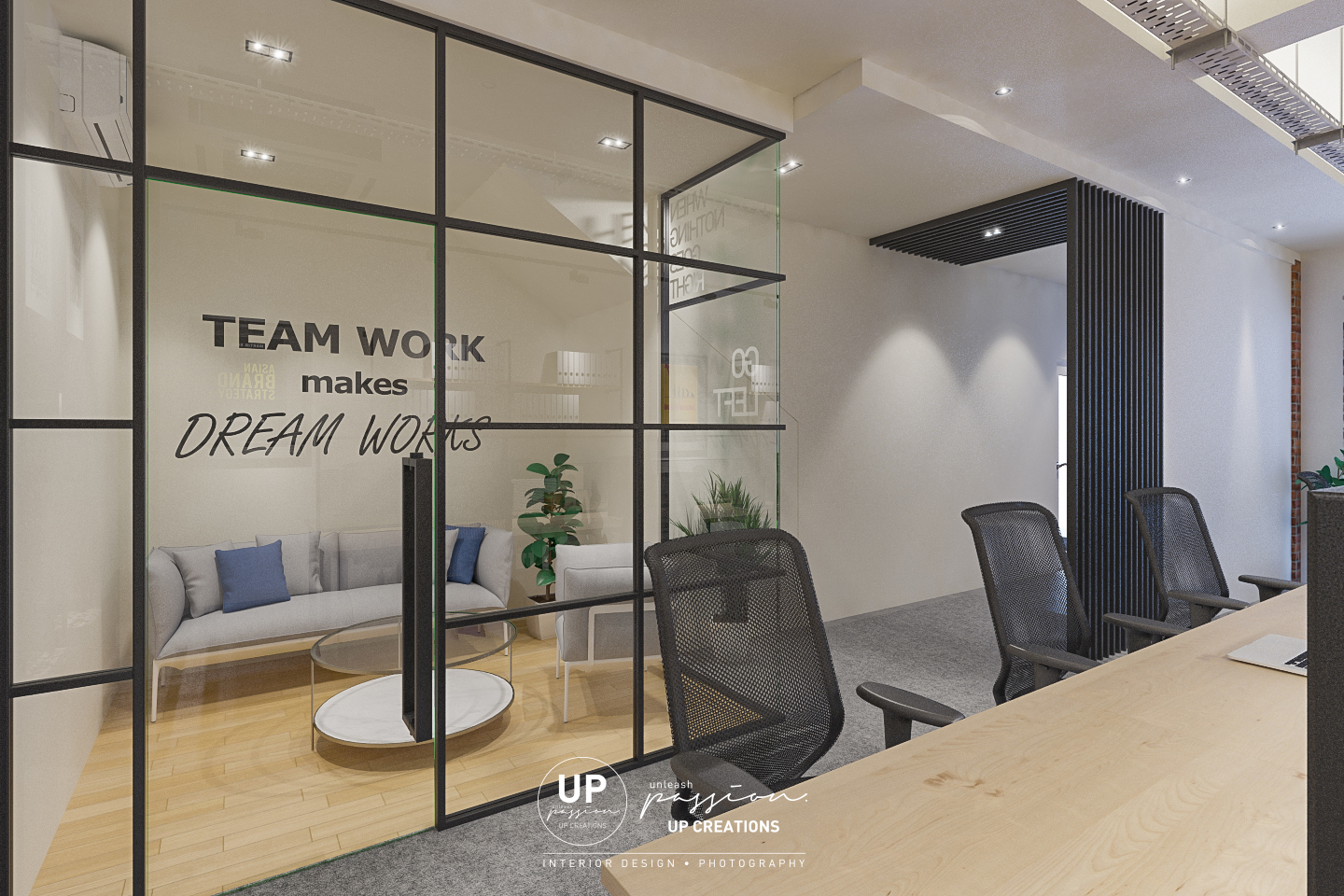 Subang vox eureka office discussion room with full glass panel and black color metal frame