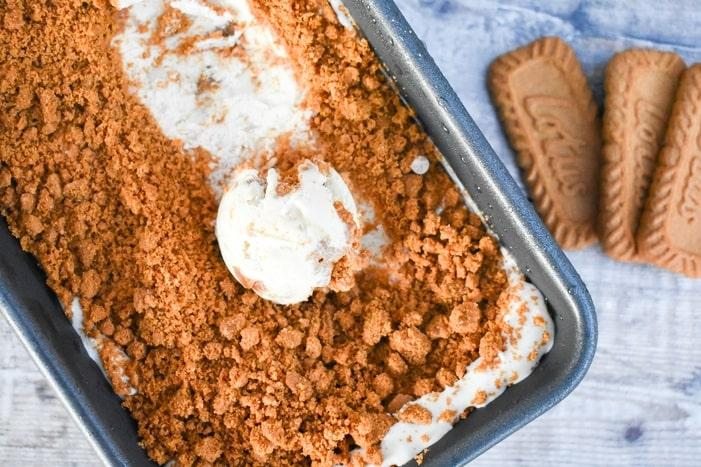 Vegan Biscoff Ice Cream in a loaf tin