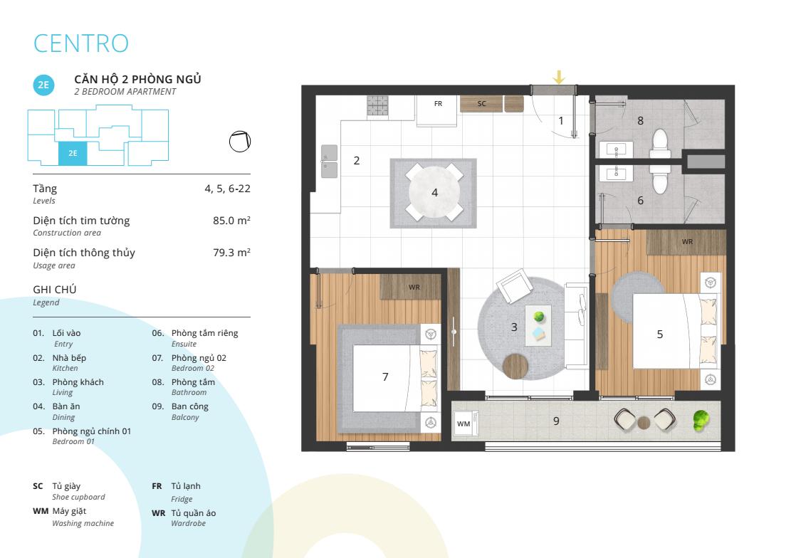 Thiết kế điển hình căn hộ 02 phòng ngủ
