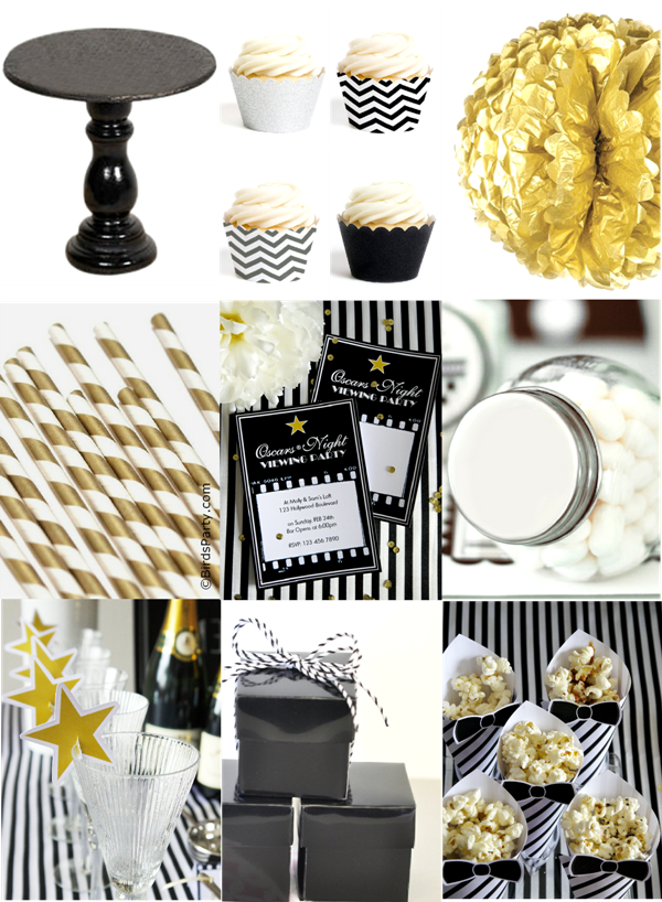 Black, White, Silver & Gold Oscars Inspired Party Ideas - BirdsParty.com