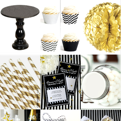 Black, White & Gold Oscars Inspired Party Ideas