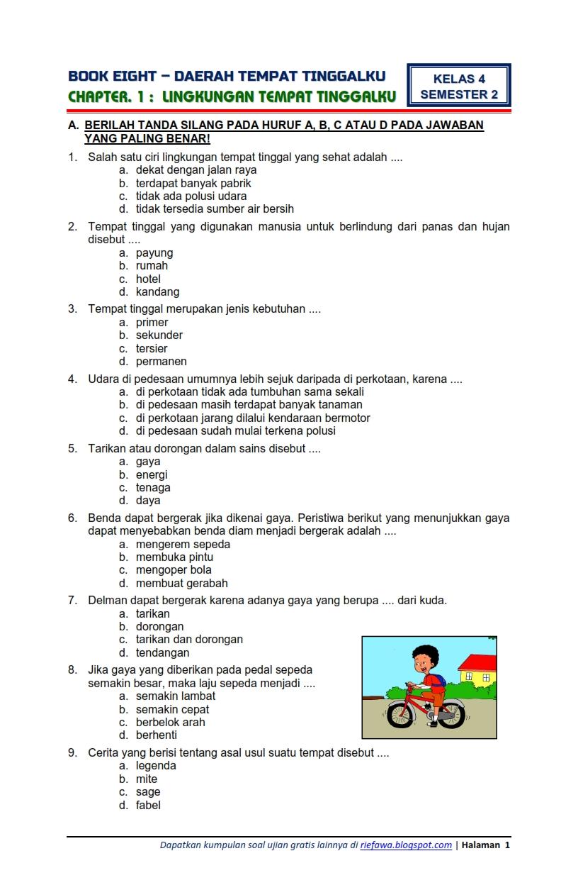 Download Soal Tematik Kelas 4 Semester 2 Tema 8 Subtema 1 Daerah Tempat Tinggalku Lingkungan