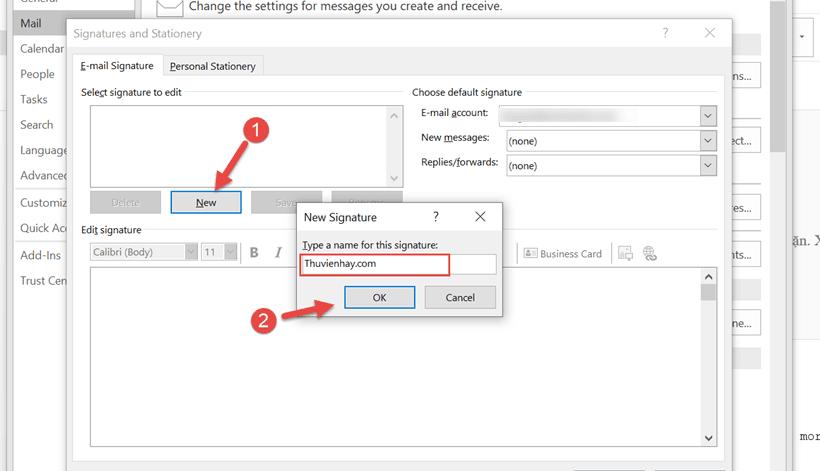 Cách tạo chữ ký trên Outlook