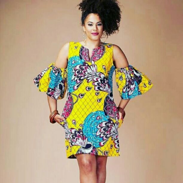 Ankara dress with cut sleeve