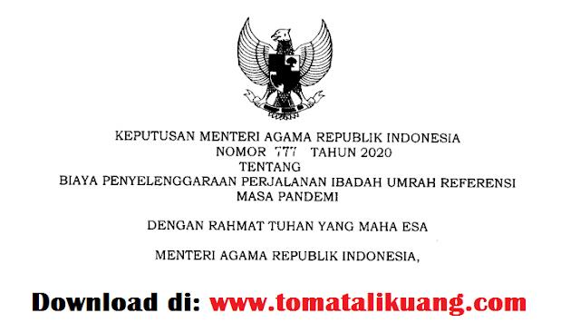 kma keputusan menteri agama ri nomor 77 tahun 2020 tentang biaya penyelenggaraan ibadah umrah bppiu masa pandemi covid-19 pdf tomatalikuang.com