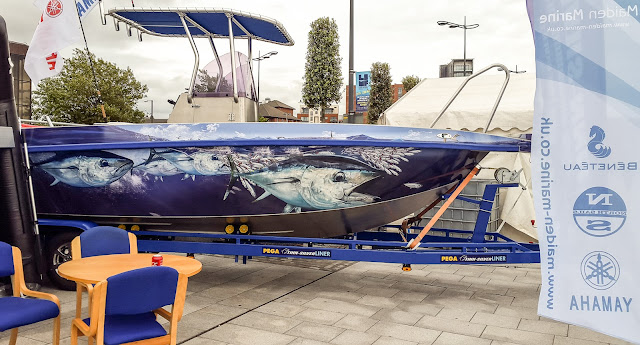 Photo of unusual paintwork on a boat at the show