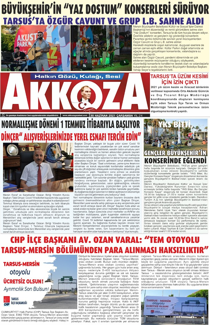 30 Haziran 2021 Çarşamba Tarihli Gazetemiz