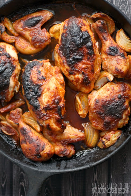 Paprika Roast Chicken over Mamaliga