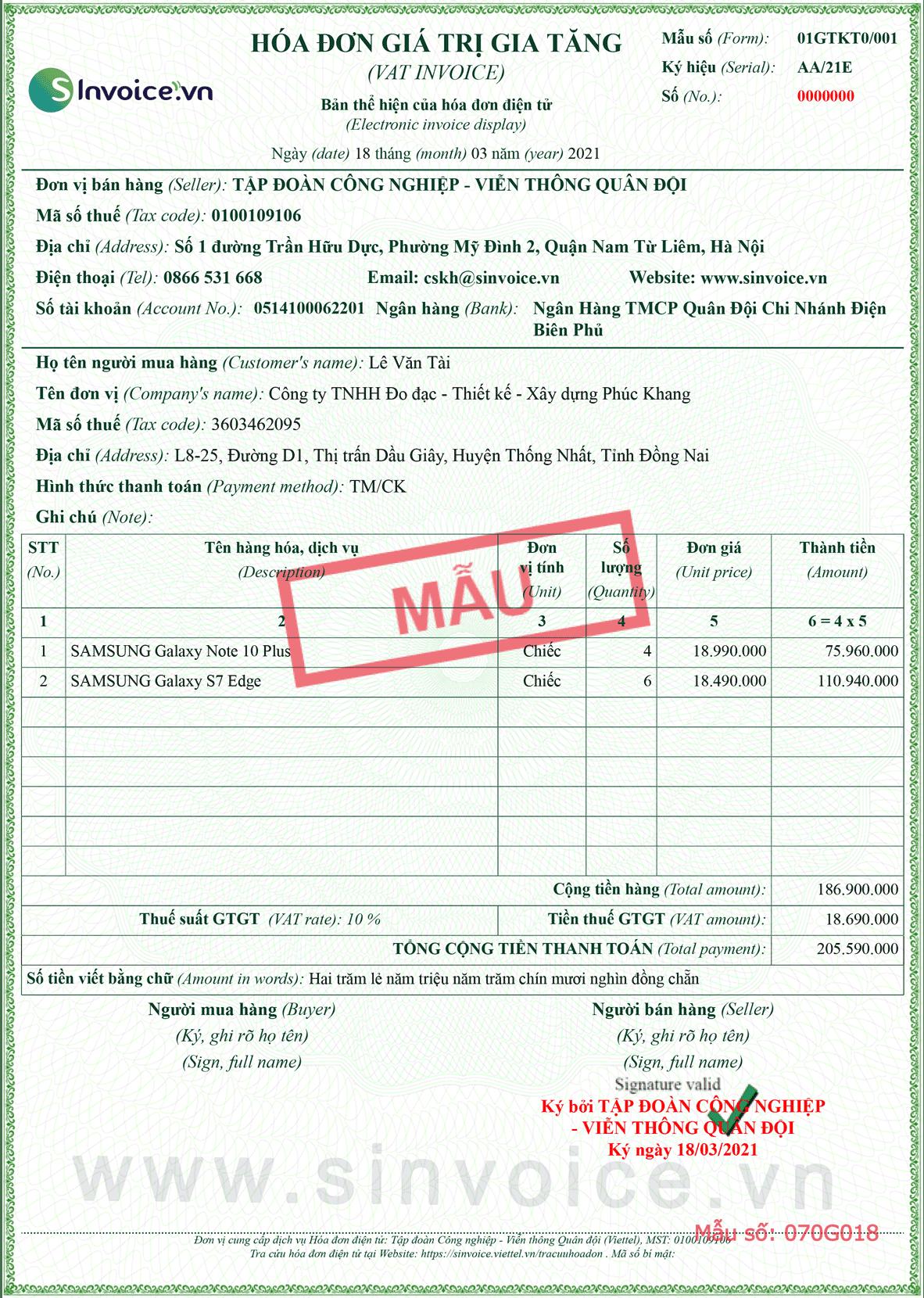 Mẫu hóa đơn điện tử số 070G018
