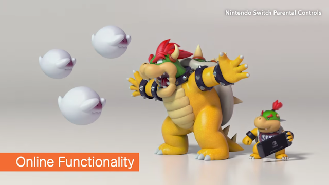 Nintendo Switch Parental Controls Bowser protecting Bowser Jr. from Boo strangers over Interner shielding