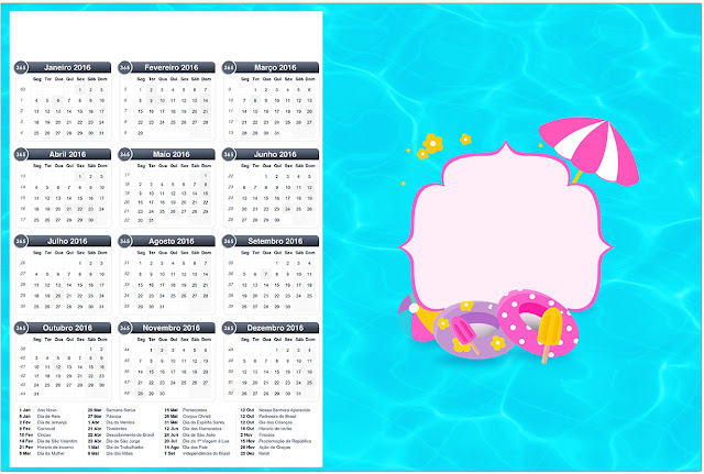 Calendario 2016 para imprimir gratis de Fiesta en la Piscina para Niña Morena.