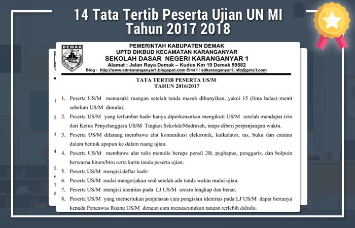 14 Tata Tertib Peserta Ujian UN MI Tahun 2017 2018