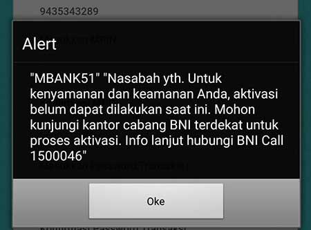 Solusi Alrt Error MBANK51 Registrasi Mobile Banking BNI?