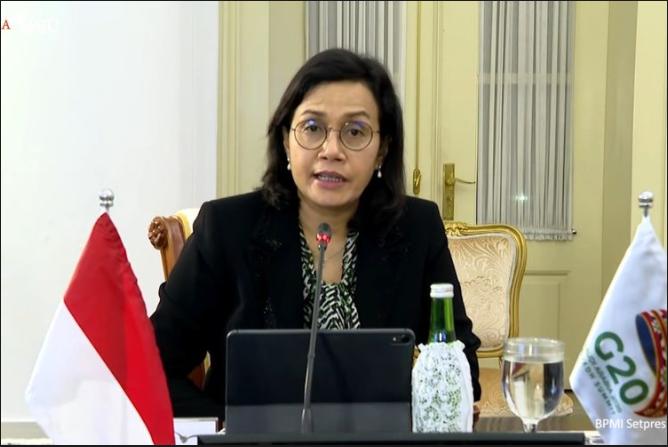 Menteri Keuangan Sri Mulyani Indrawati dalam Konferensi Tingkat Tinggi (KTT) G20 pada Sabtu (21/11/2020).