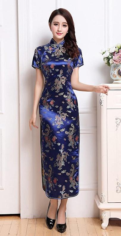Women's Blue Cheongsam Dress Qipao Dress