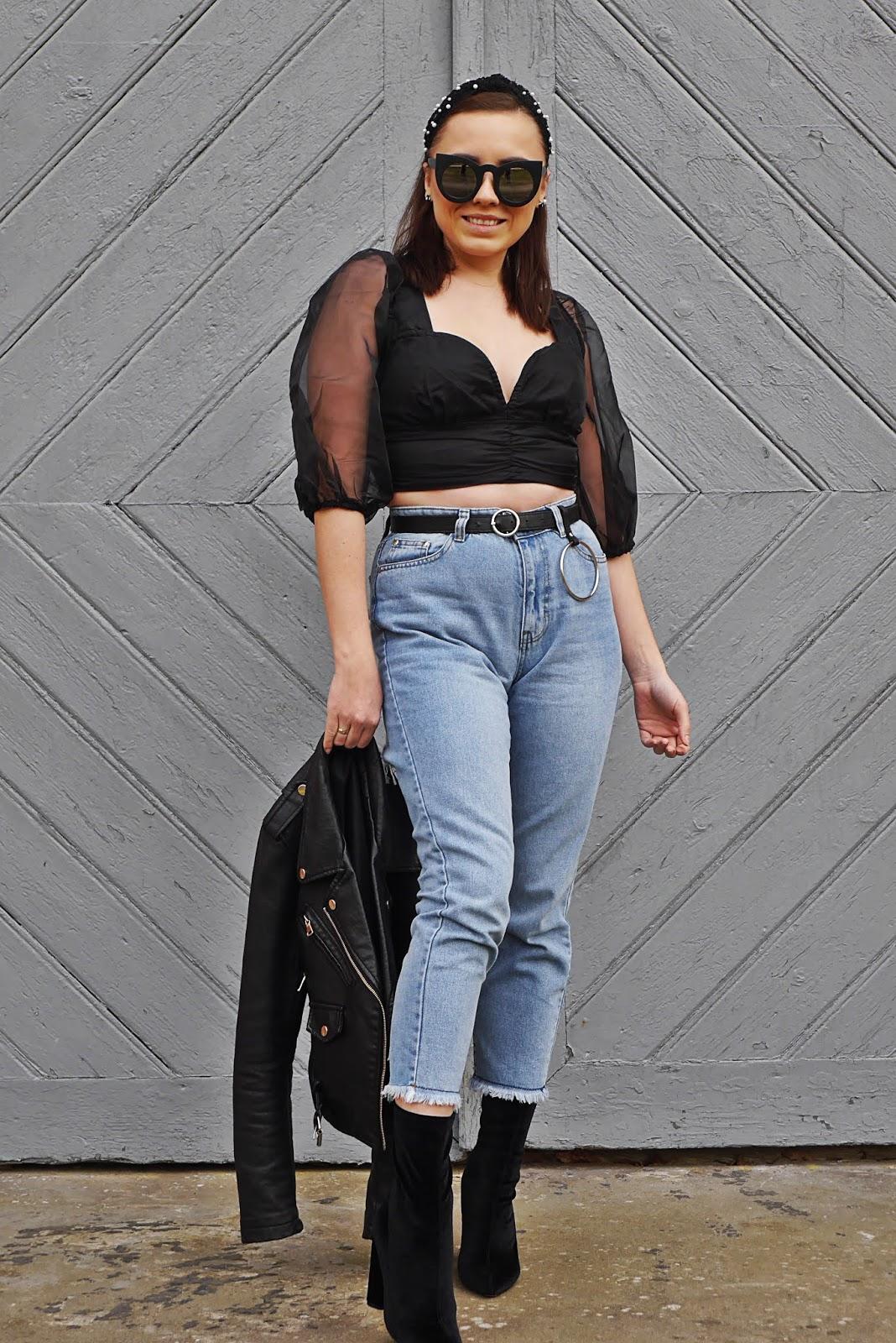 blog modowy blogerka modowa karyn puławy top z bufiastymi rękawami femme luxe spodnie jesnay pasek z kólkiem aliexpress okulary kocie botki czarne reeen skarpetkowe