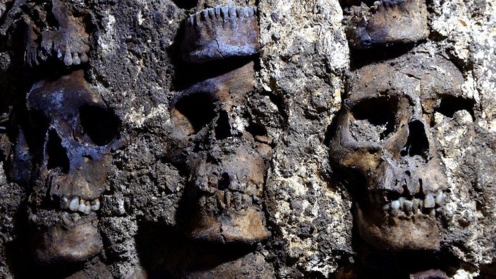 A tower of human skulls unearthed in Mexico City