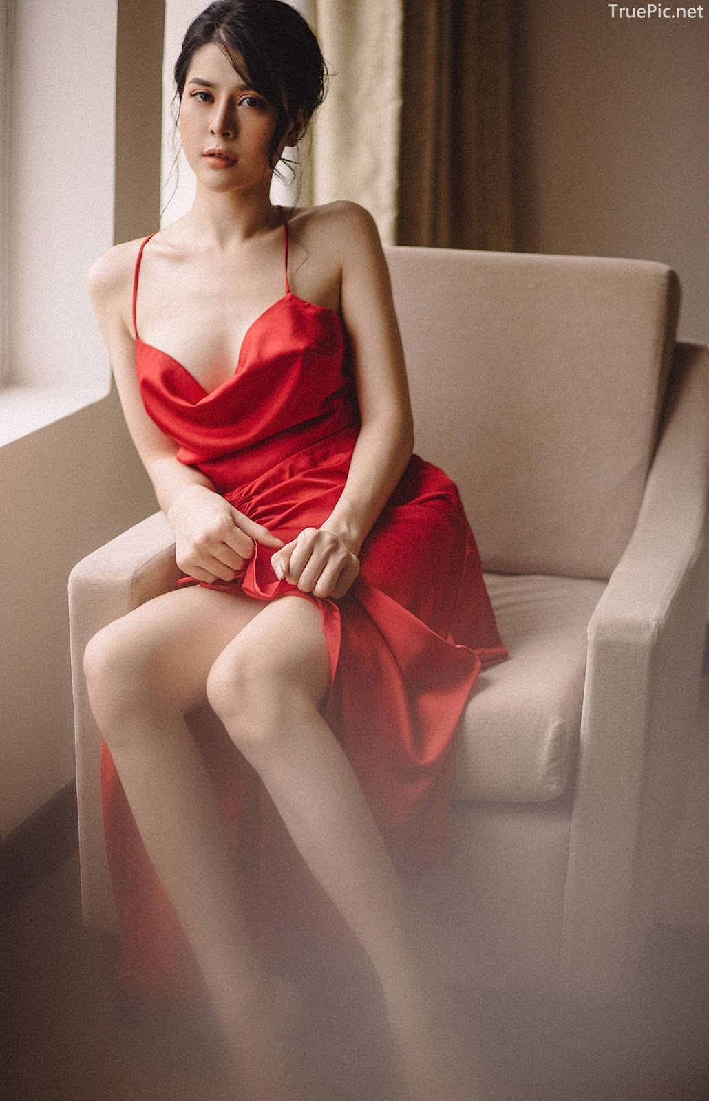 Vietnamese hot model - The beauty of Women with Red Camisole Dress - Photo by Linh Phan - Picture 2