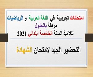 امتحانات تجريبية  في  اللغة العربية  و الرياضيات لتلاميذ السنة الخامسة