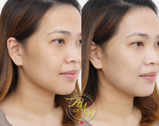 a before and after photo after using Belo Intensive Whitening Tone Correcting BB Cream