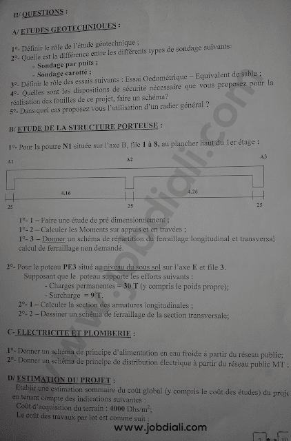 Exemple Concours de Recrutement des Ingénieurs d'Etat Genie Civil - Ministère des Habous et des Affaires Islamiques