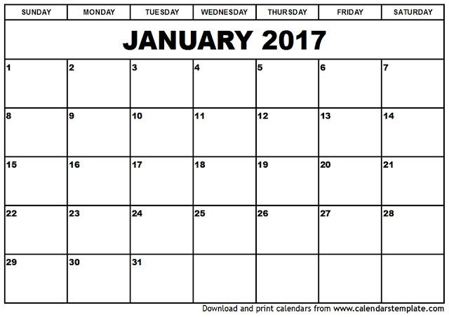 January 2017 Calendar Printable
