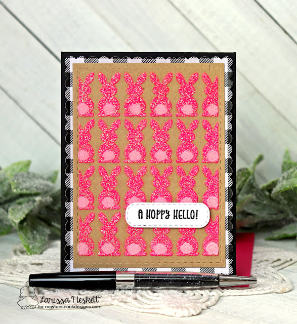 Hoppy Hello card by Larissa Heskett | Bunny Tails Stencil Set and Frames & Flags Die Set by Newton's Nook Designs #newtonsnook #handmade