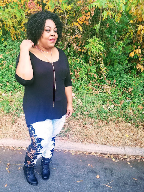 Thick thighs, big hips, big hair, stacked booties, crochet lace jeans, faux suede necklace