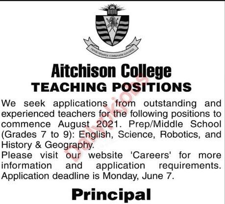 Latest Jobs Aitchison College Lahore Apply Online 2021