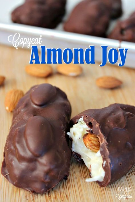 Did you know you can make your own Almond Joy candies at home?! In my opinion, these actually taste better homemade. 😉 I like making these for gifts or just a late night snack or dessert. Enjoy!