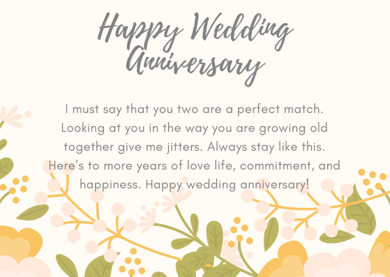 Wedding anniversary greetings for couple