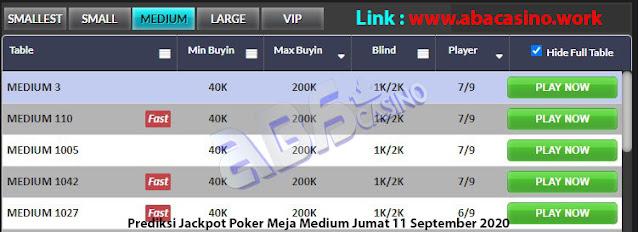 prediksi jackpot poker meja medium jumat 11 september 2020
