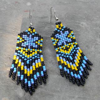 купить серьги из бисера в этническом стиле  фото цена необычные украшения из бисера