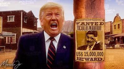 Ilustração Trump com cartaz de recompensa por Maduro