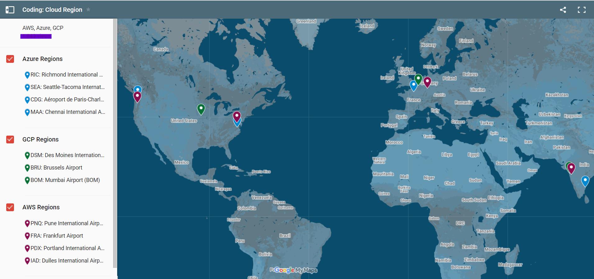 Cloud regions - AWS / GCP / Azure