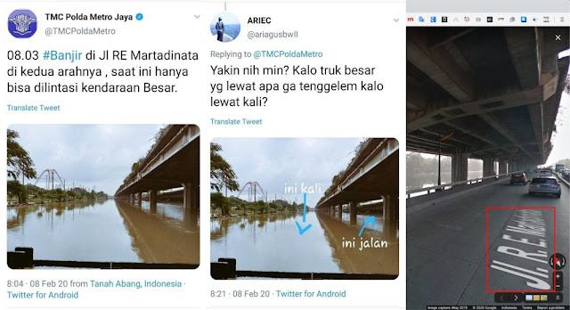 hoax TMC Polda Metro Jaya Jl. RE Martadinata Banjir foto kali Ancol